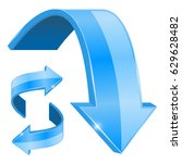 blue arrows. bent shiny icons.... | Shutterstock .eps vector #629628482