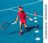 girl on tennis training | Shutterstock . vector #629642042
