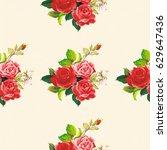 seamless floral pattern rose... | Shutterstock .eps vector #629647436