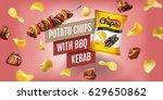 potato chips ads. vector... | Shutterstock .eps vector #629650862