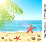 sun  sparkling ocean and palms  ... | Shutterstock .eps vector #629650892