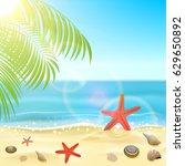 sun  sparkling ocean and palms  ...   Shutterstock .eps vector #629650892