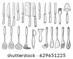 utensil illustration  drawing ... | Shutterstock .eps vector #629651225