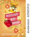 potato chips ads. vector... | Shutterstock .eps vector #629651912