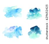 set of abstract blue watercolor ... | Shutterstock .eps vector #629652425