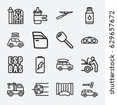 car icon. set of 16 car outline ... | Shutterstock .eps vector #629657672