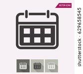 calendar vector icon.... | Shutterstock .eps vector #629658545