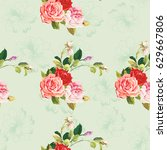 seamless floral pattern three...   Shutterstock .eps vector #629667806