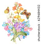 vintage watercolor greeting... | Shutterstock . vector #629684432