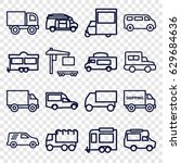 van icons set. set of 16 van... | Shutterstock .eps vector #629684636