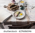 breakfast on the table with... | Shutterstock . vector #629686046
