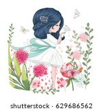 cute girl vector.children... | Shutterstock .eps vector #629686562