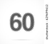 number sixty  60 in halftone.... | Shutterstock .eps vector #629699612