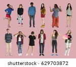 diversity people set gesture... | Shutterstock . vector #629703872
