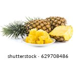 pineapple close up isolated on... | Shutterstock . vector #629708486