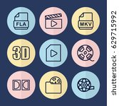set of 9 movie outline icons... | Shutterstock .eps vector #629715992