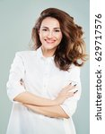 friendly doctor woman in white... | Shutterstock . vector #629717576