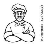 smiling chef in arms crossed... | Shutterstock .eps vector #629723195