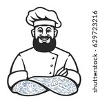 smiling hipster chef with beard ... | Shutterstock .eps vector #629723216