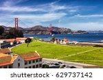 the golden gate bridge in san...   Shutterstock . vector #629737142