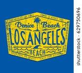los angeles beach typography ... | Shutterstock .eps vector #629750696