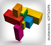 volume geometric shape  3d... | Shutterstock .eps vector #629762696
