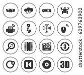 set of 16 computer filled icons ... | Shutterstock .eps vector #629763902