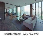 luxury modern living room... | Shutterstock . vector #629767592