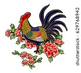 chinese cock and peonies... | Shutterstock .eps vector #629768942