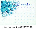 beautiful watercolor calendar... | Shutterstock . vector #629770952