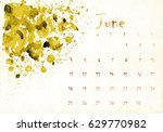 beautiful watercolor calendar... | Shutterstock . vector #629770982