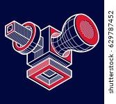 vector abstract 3d geometric... | Shutterstock .eps vector #629787452