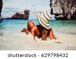 summer lifestyle portrait of... | Shutterstock . vector #629798432