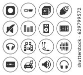 set of 16 stereo filled icons... | Shutterstock .eps vector #629799572