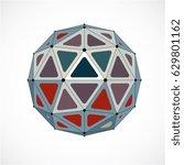 3d vector low poly spherical... | Shutterstock .eps vector #629801162
