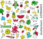 bright children's pattern ... | Shutterstock .eps vector #629804045