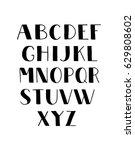 black on white handwritten font.... | Shutterstock .eps vector #629808602