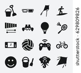 fun icon. set of 16 fun filled... | Shutterstock .eps vector #629809826