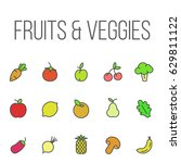 fruit and vegetable flat icon | Shutterstock .eps vector #629811122