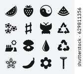 natural icon. set of 16 natural ... | Shutterstock .eps vector #629811356