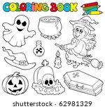 coloring book with halloween... | Shutterstock .eps vector #62981329