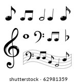 various musical notes in black | Shutterstock .eps vector #62981359