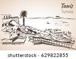 tunisia coastline resort sketch.... | Shutterstock .eps vector #629822855