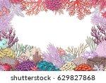 hand drawn underwater natural... | Shutterstock .eps vector #629827868