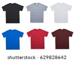 blank t shirt 6 color template... | Shutterstock . vector #629828642