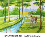 illustration with markers ... | Shutterstock . vector #629832122
