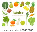 collection of seasonal fruits...   Shutterstock .eps vector #629832905