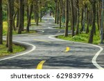curved  bikeway at countryside. ... | Shutterstock . vector #629839796