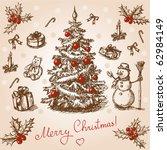 Vintage Christmas Card. Vector