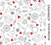 Seamless vector background with hearts, arrows, ringlets, flowers, love.  illustration for fabric, scrapbooking paper and other